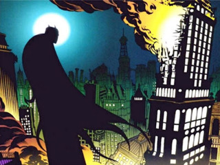 Batman watches his city in ruins