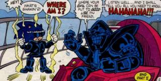 Robo-Robotnik Mach I summons Evil Sonic to do his bidding.