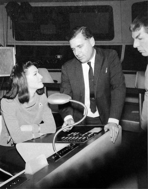 Gene Roddenberry (C), his future wife Majel Barrett (L) and Leonard Nemoy/Spock (R)