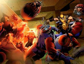 Cyclops and Wolverine fighting Sentinels