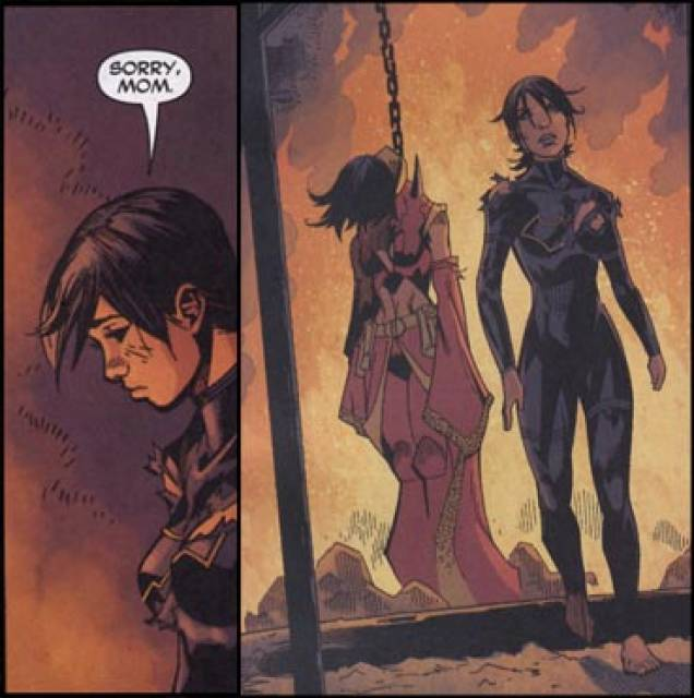 Cassandra walking away after the battle to the death with Lady Shiva
