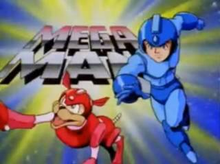 Mega Man as he appears in his cartoon, with Rush.