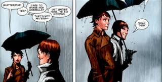 Shatterstar and Rahne, bonding with each other.