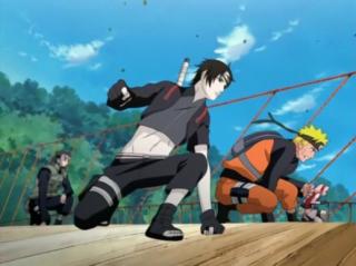 Yamato-led Team Kakashi reveals themselves to Orochimaru and Kabuto.