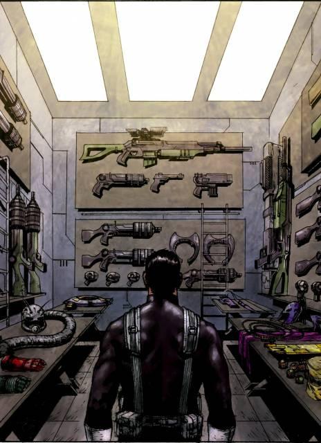 The Punisher acquiring superhero and villain gear
