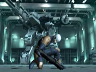 Grey Fox fighting Metal Gear REX