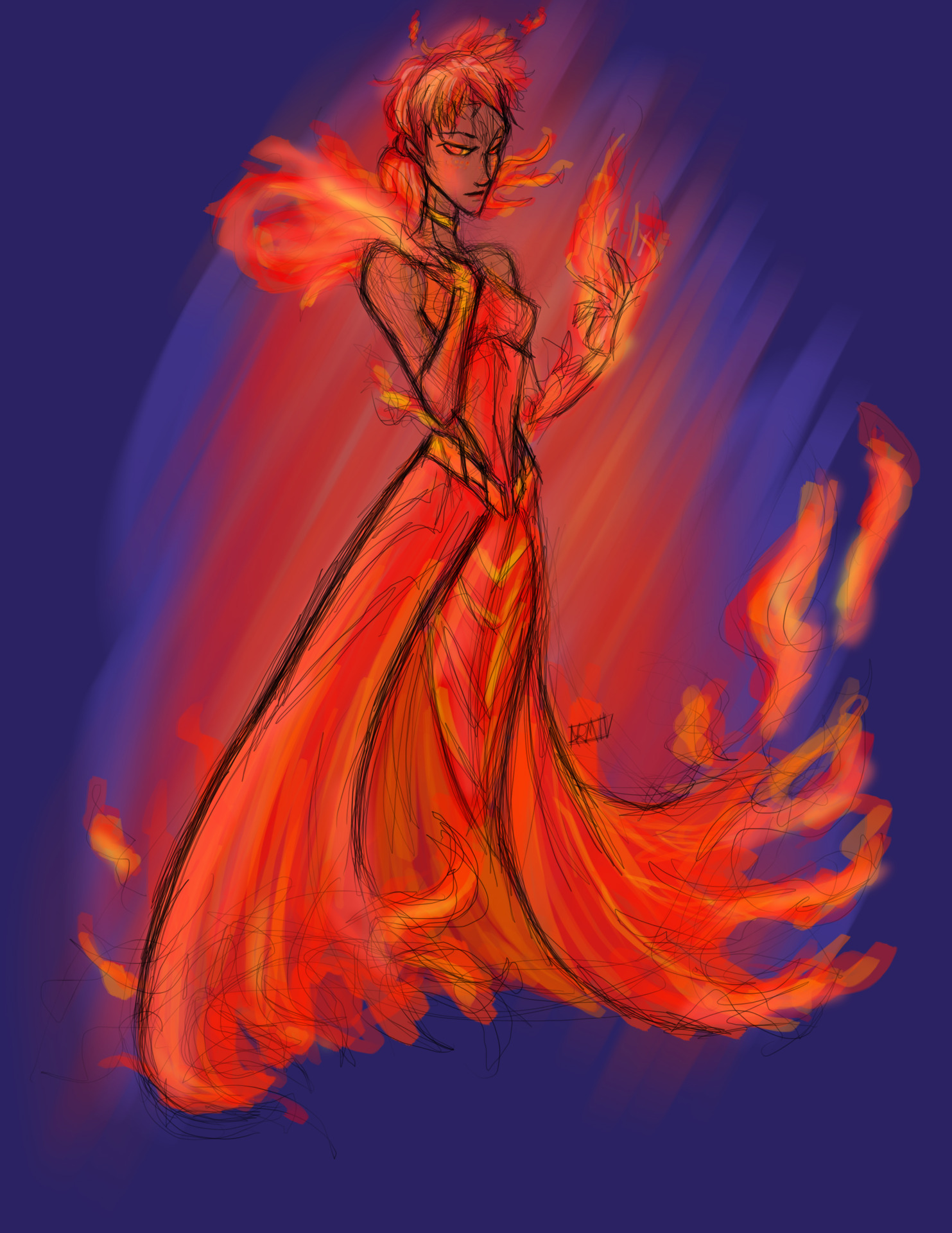 Fire Goddess. Done under 30 minutes (or at least I think so) for a group on Facebook.