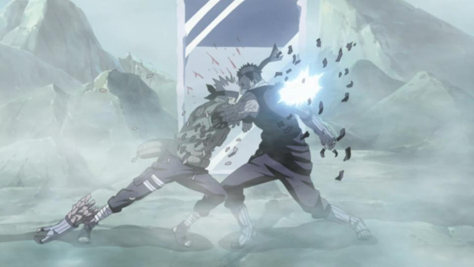 Kakashi defeats the swordsman once again.