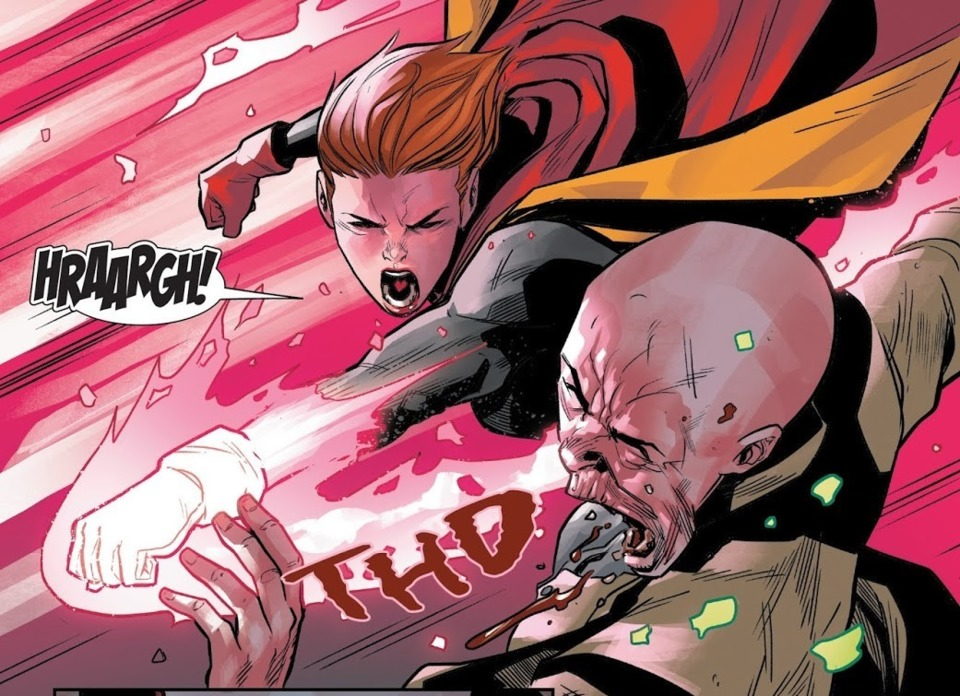 After being mind controlled by Cassandra Nova, a rage amped Rachel punches her hard enough to break through her TK shield...Nova's shield has taken hits from Gladiator