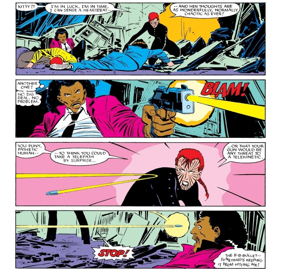 Turns bullet fired at her and sends it back at the shooter. - Uncanny X-Men v1 - 196