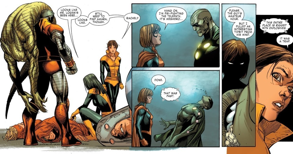 Prior to her over extending her power, casually defeats Mesmero