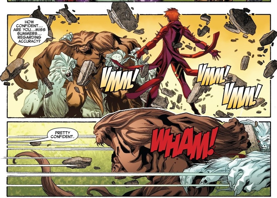 KO's 2 Wendigo's beings that were giving Colossus and Sasquatch trouble- Amazing X-Men v2 #12