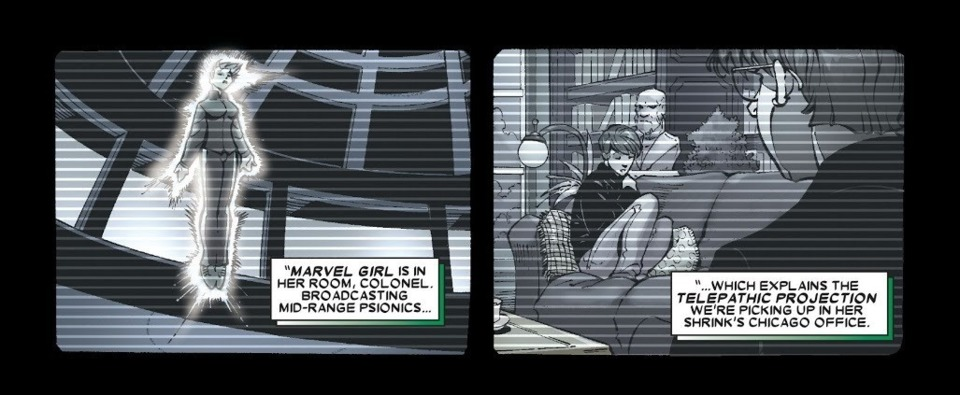 Astral projects from the X-Mansion in NY to her therapist in Chicago - Uncanny X-Men v1 #472