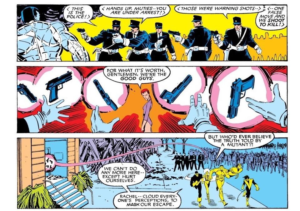 Disarms several French police officers. Uncanny X-Men V1 - 202
