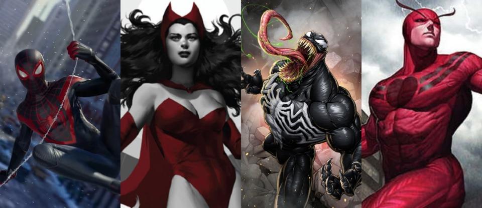 Miles Morales, Scarlet Witch, Venom & Giant-man(Pym)