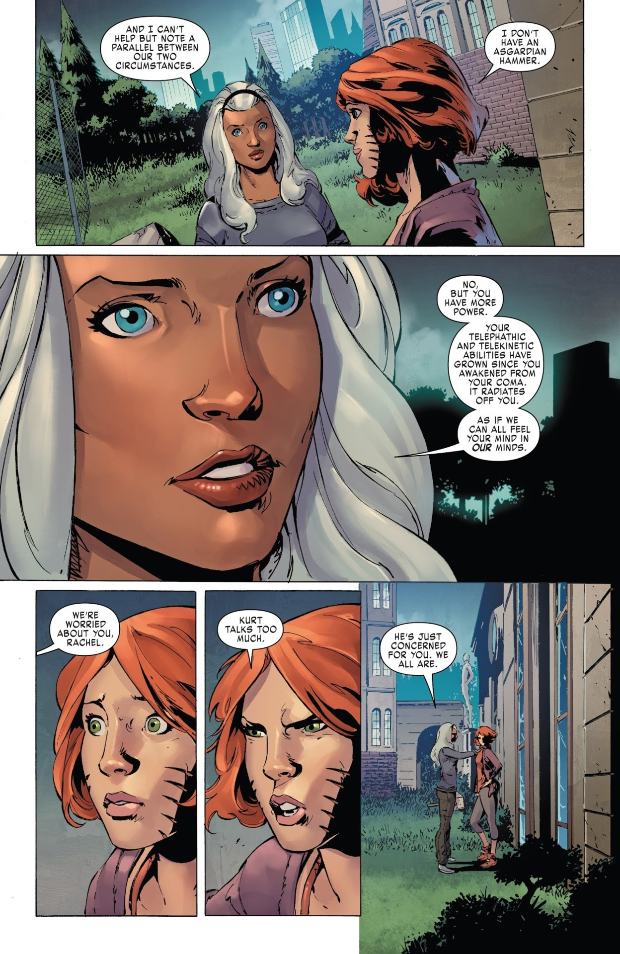 After waking from her coma Storm says that Rachel's power has increased to the point it radiates off of her and that people can feel her in their mind - X-Men Gold 27