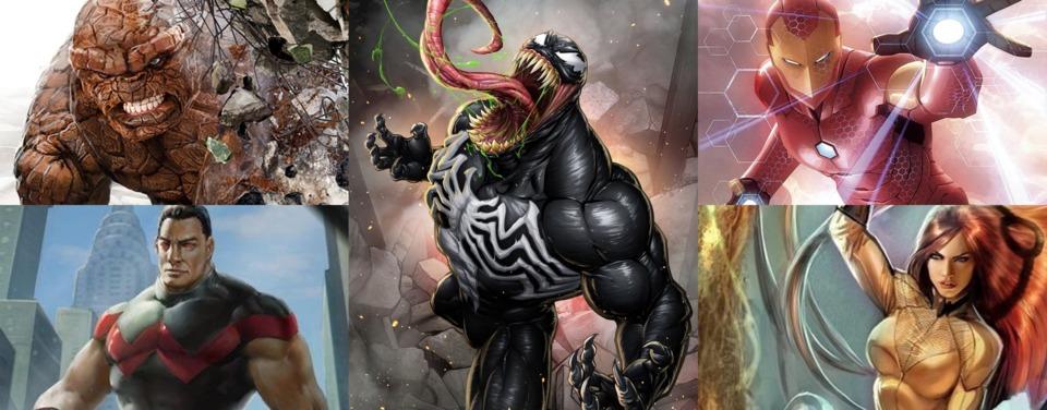 Venom / Thing / Wonder Man / Ironman / Crystal