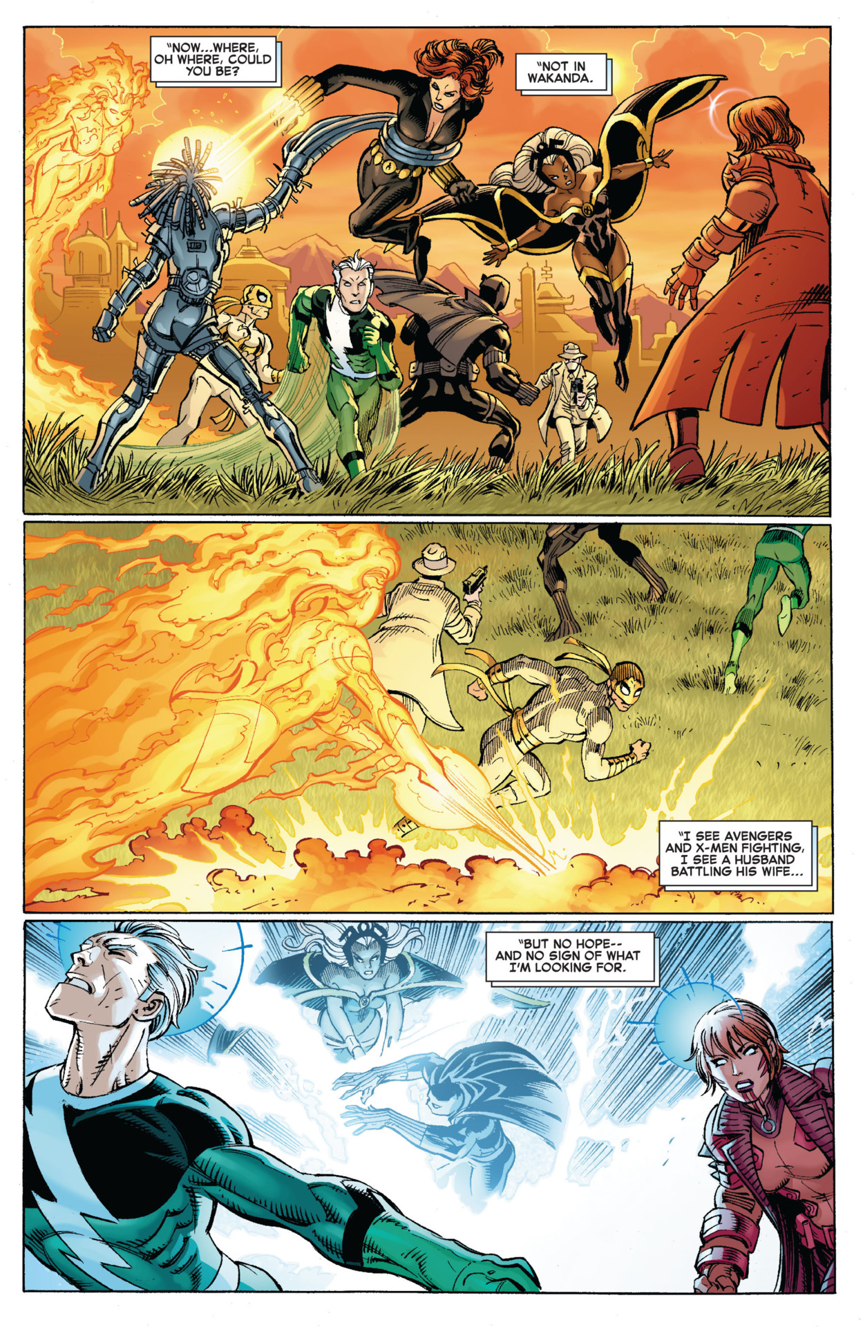 KO's Quicksilver with a mind blast before he can blitz her Avengers vs X-Men #2