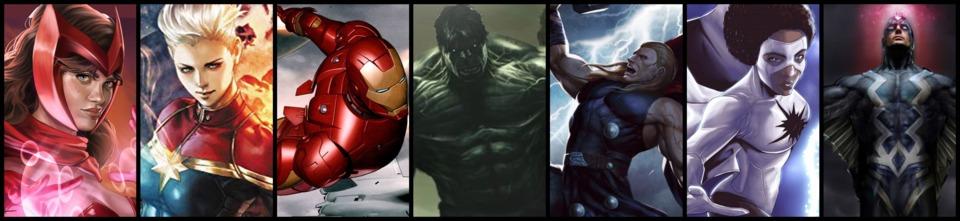 Scarlet Witch / Captain Marvel / Ironman / Hulk / Thor / Spectrum / Blackbolt