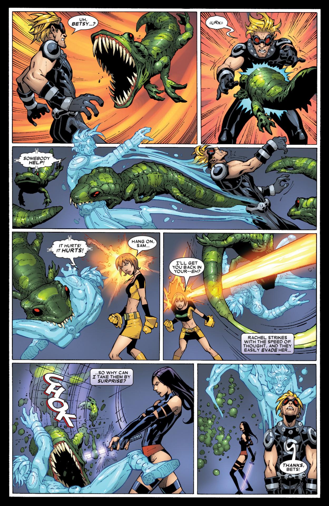 Psylocke says that Rachel attacks at the speed of light- Uncanny X-Men v1 #473