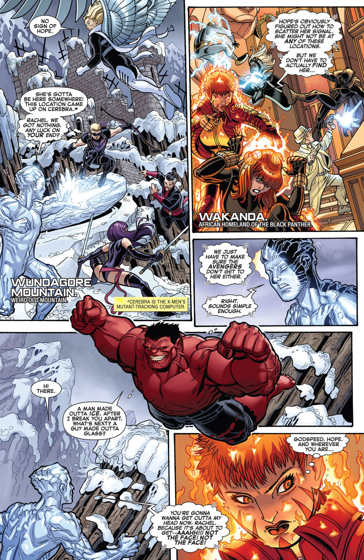 Communicates with Iceman on Wundagore mountain from Wakanda - Wolverine and the X-Men #10