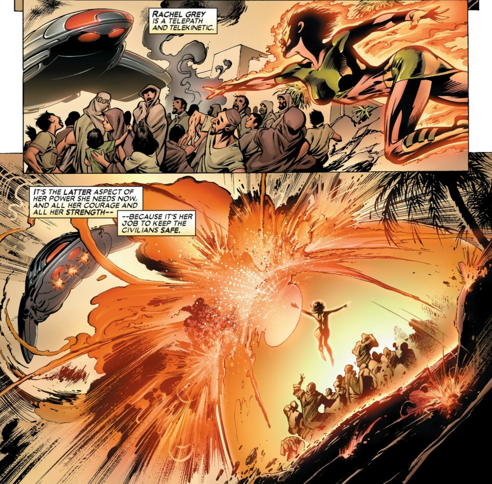- Quickly creates a shield to protect civilians from an airships weapons- Uncanny X-Men v1 -444