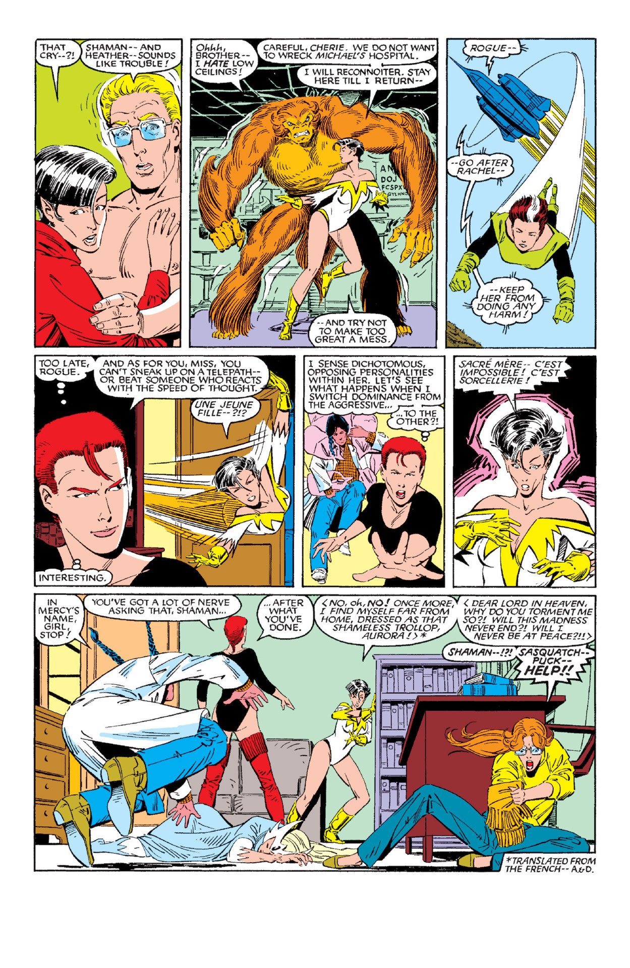Senses Aurora's approach and switches the dominant personality inside her mind with one of her alternates- X-Men/Alpha Flight (1985) #1