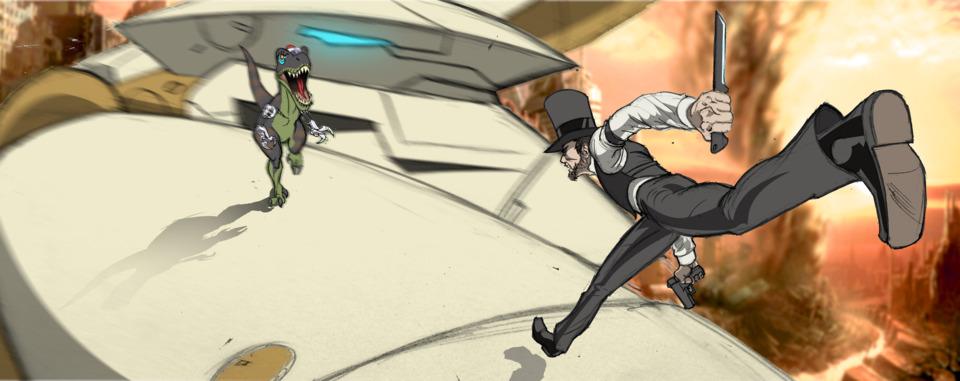 Abraham Lincoln v. Bionisaur v. Metal Gear Ray