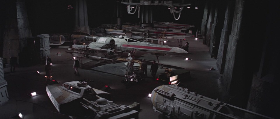 An X-wing hangar on Yavin 4.