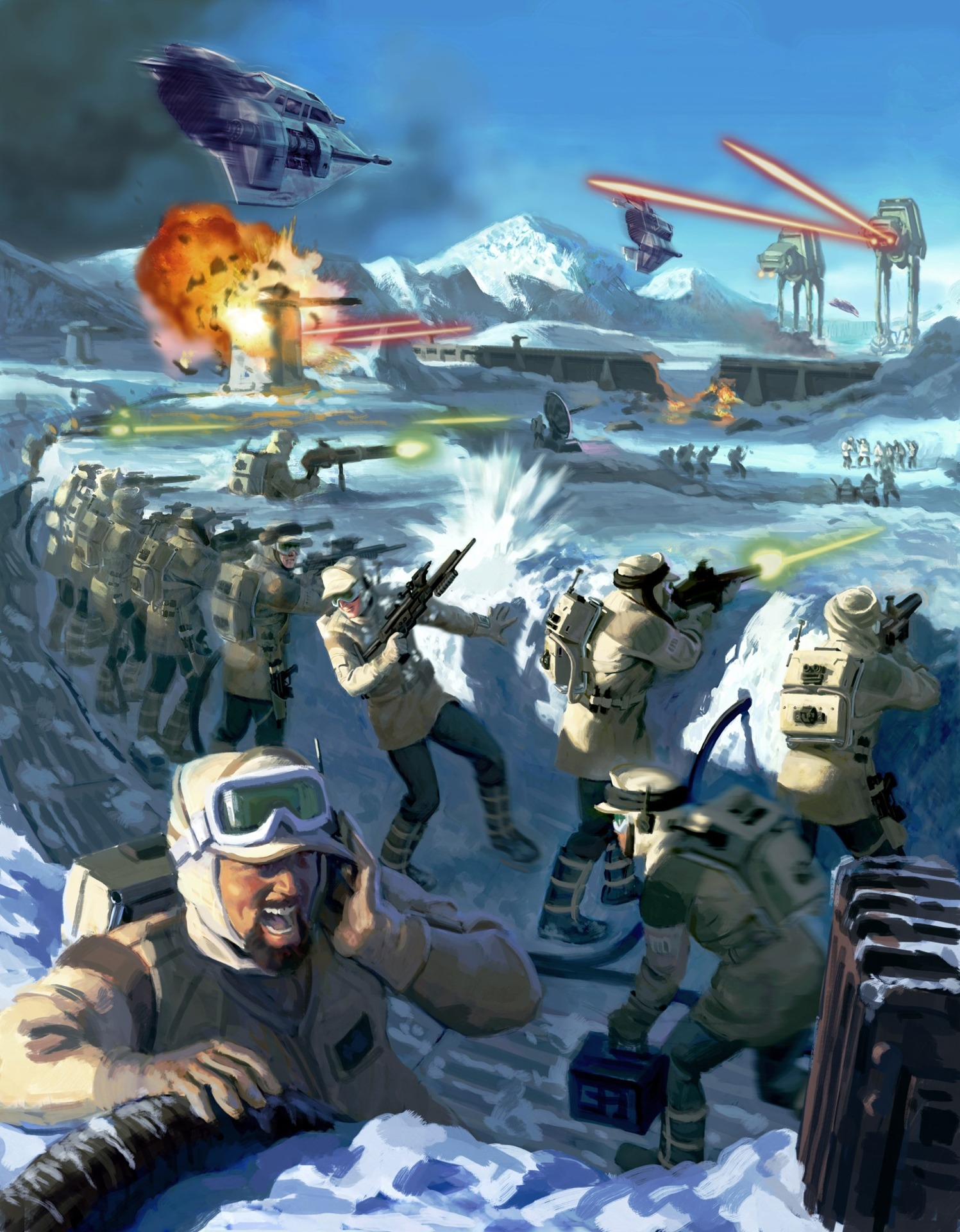 Rebel soldiers defend their base against Imperial AT-AT walkers.