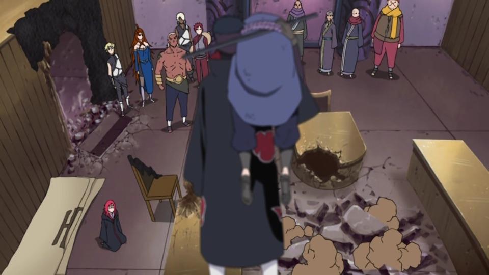Saving Sasuke at the Five Kage summit.