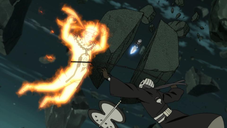 Battling Naruto, Guy, and Kakashi.