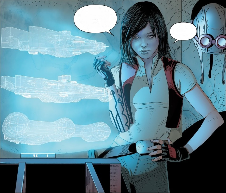 Aphra debriefing a group of bounty hunters.