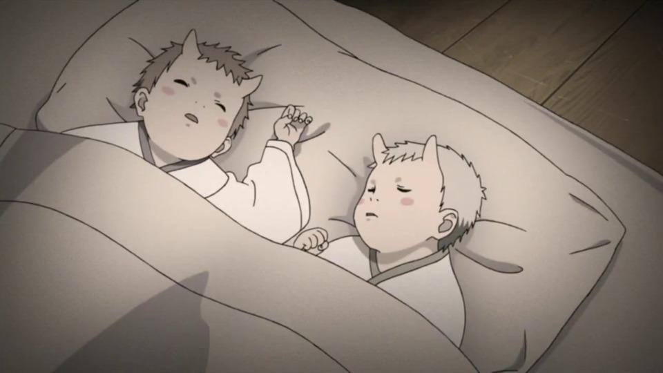 Hagoromo and Hamura as infants