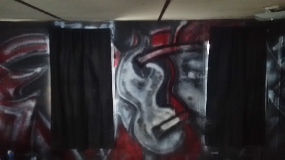 This is the current back wall of my mobile home. We are in the process of remodeling and decided it would be nice to have some homeage to the original art form that got me into painting / drawing in the first place. Graffiti.