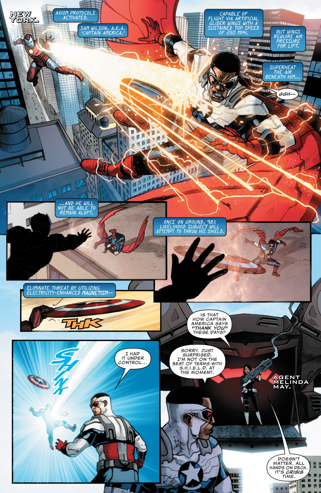 Even this Iron Imposter is one-shotted by Melinda May's featless SHIELD gun after the Iron Imposter embarrasses Sam Wilson.