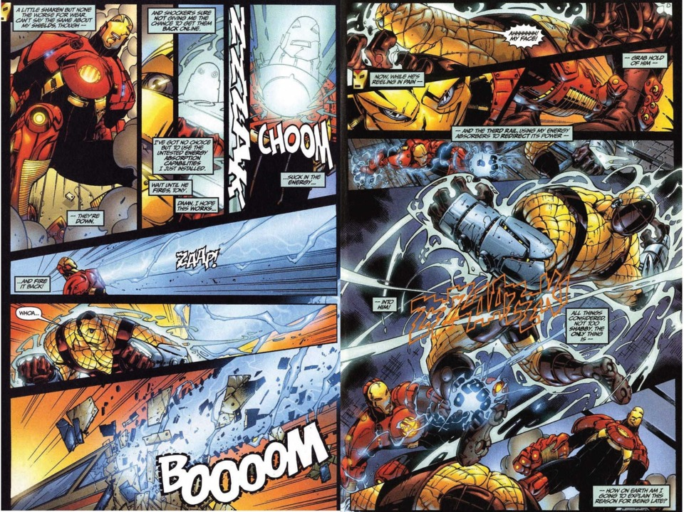 In a malfunctioning and incomplete prototype armor, Iron Man manages to absorb Shocker's blast and then redirects that power to defeat him.