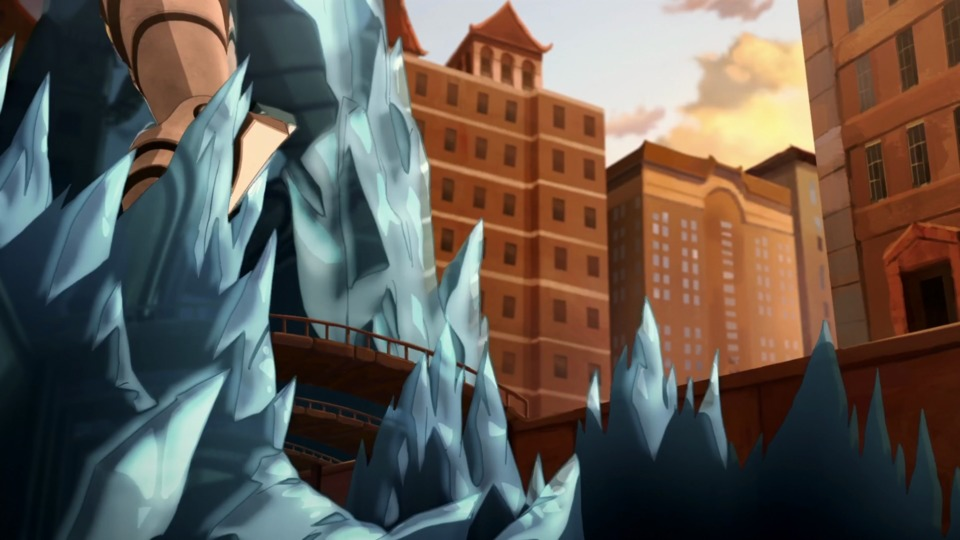 Let's not forget in addition to the wave that hit the colossus, Korra also froze the canal while partially raising portions of it