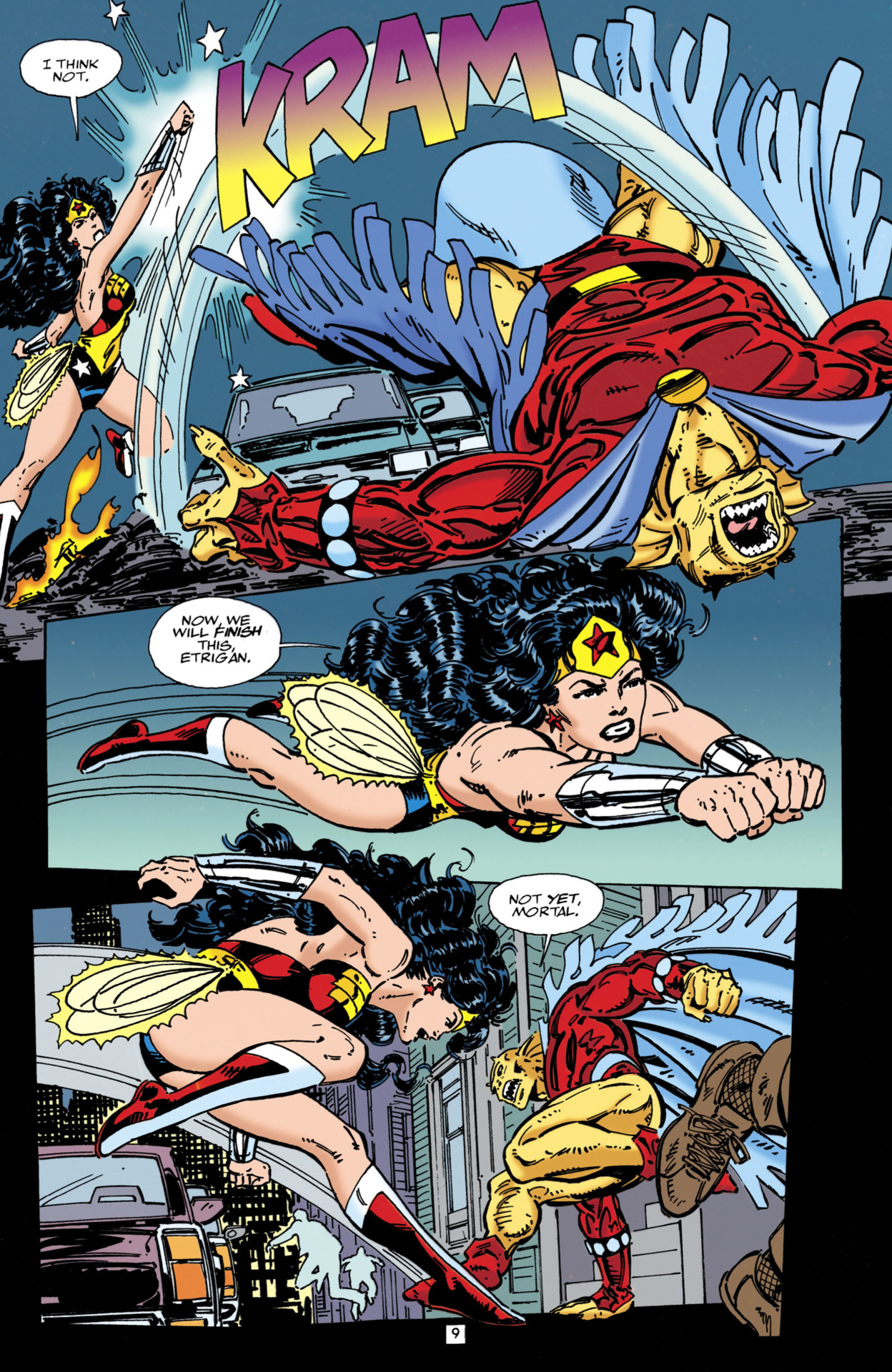 Etrigan takes another punch from Wonder Woman here and quickly recovers