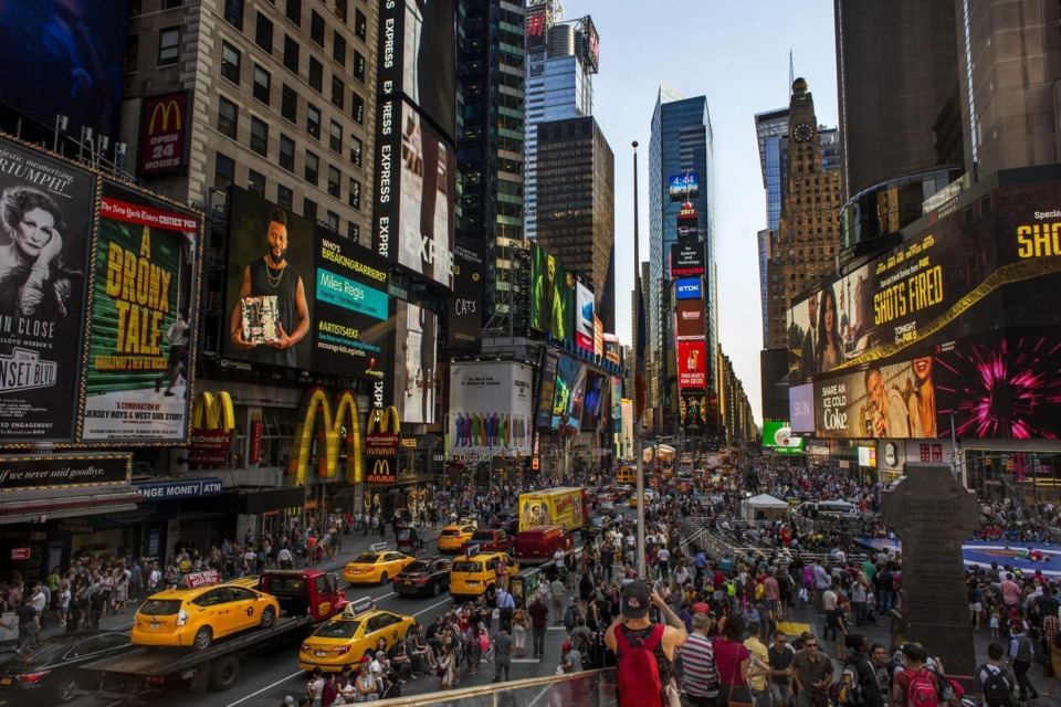 START 50 FEET APART AT TIMES SQUARE (THE AREA WILL BE UNPOPULATED)