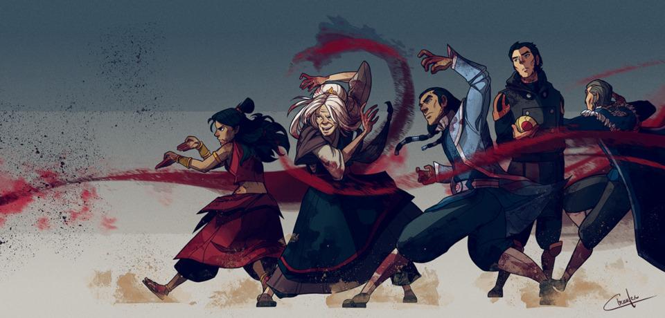 Bloodbending: Katara, Hama, Tarrlok, Amon and Yakkone