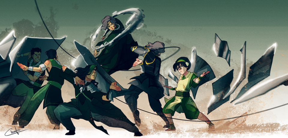 Metalbending: Lin, Suyin, Toph (ignore the others) (not pictured: Kuvira)