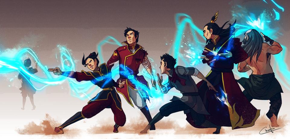 Lightningbending: Azula, Mako, Ozai, Iroh