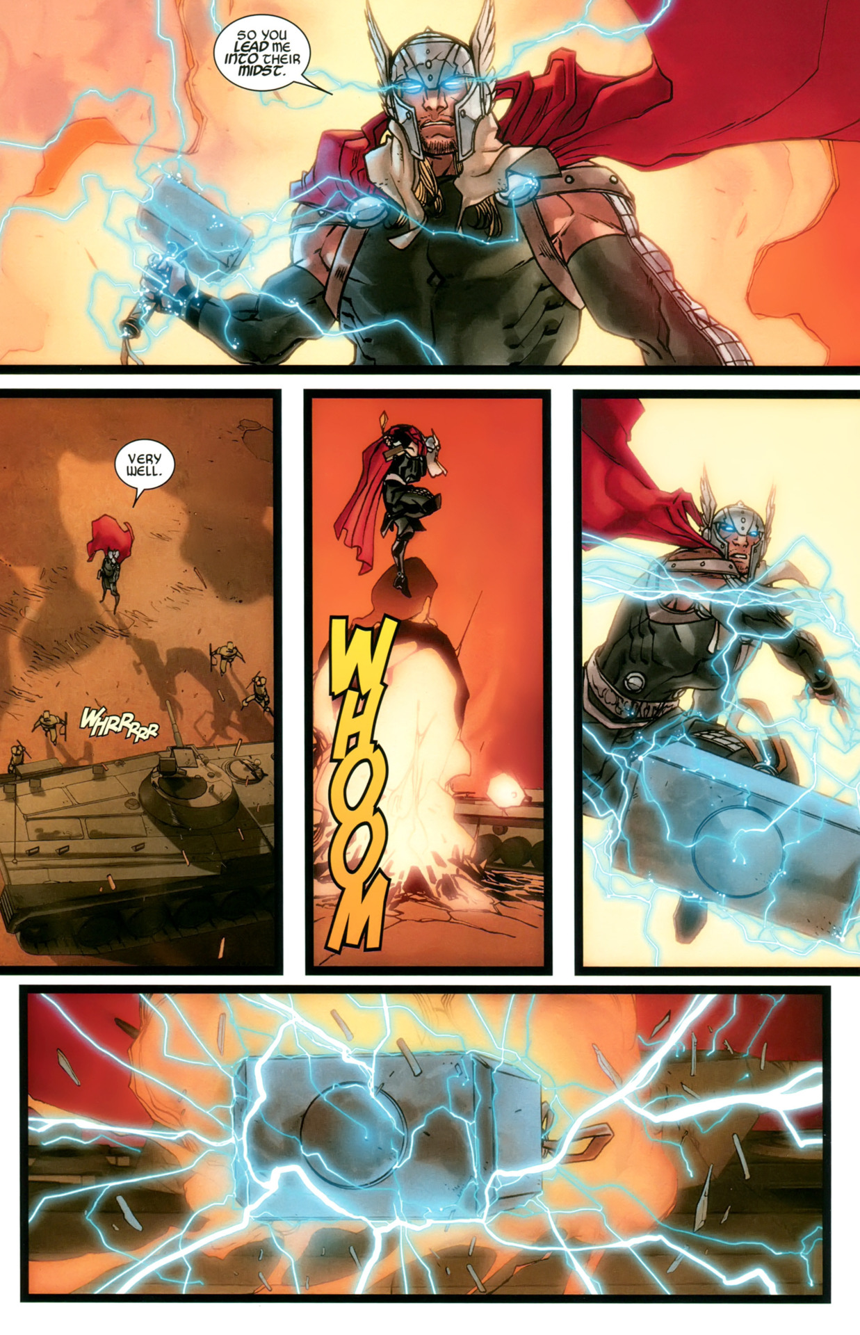 Easily avoids a tank shell and blitzes the tank with Mjolnir