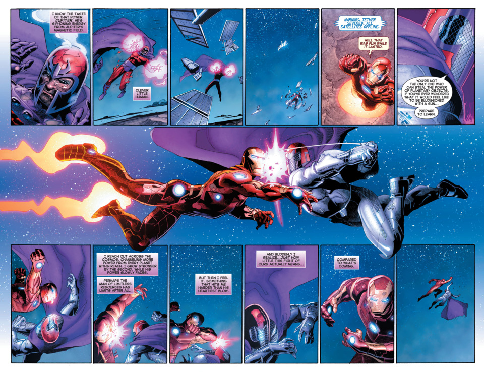 Iron Man trades blows with and defeats Magneto who was explicitly using the power of the Sun's magnetic field(and the magnetic fields from an unknown amount of planets) -AvX: Vs #1