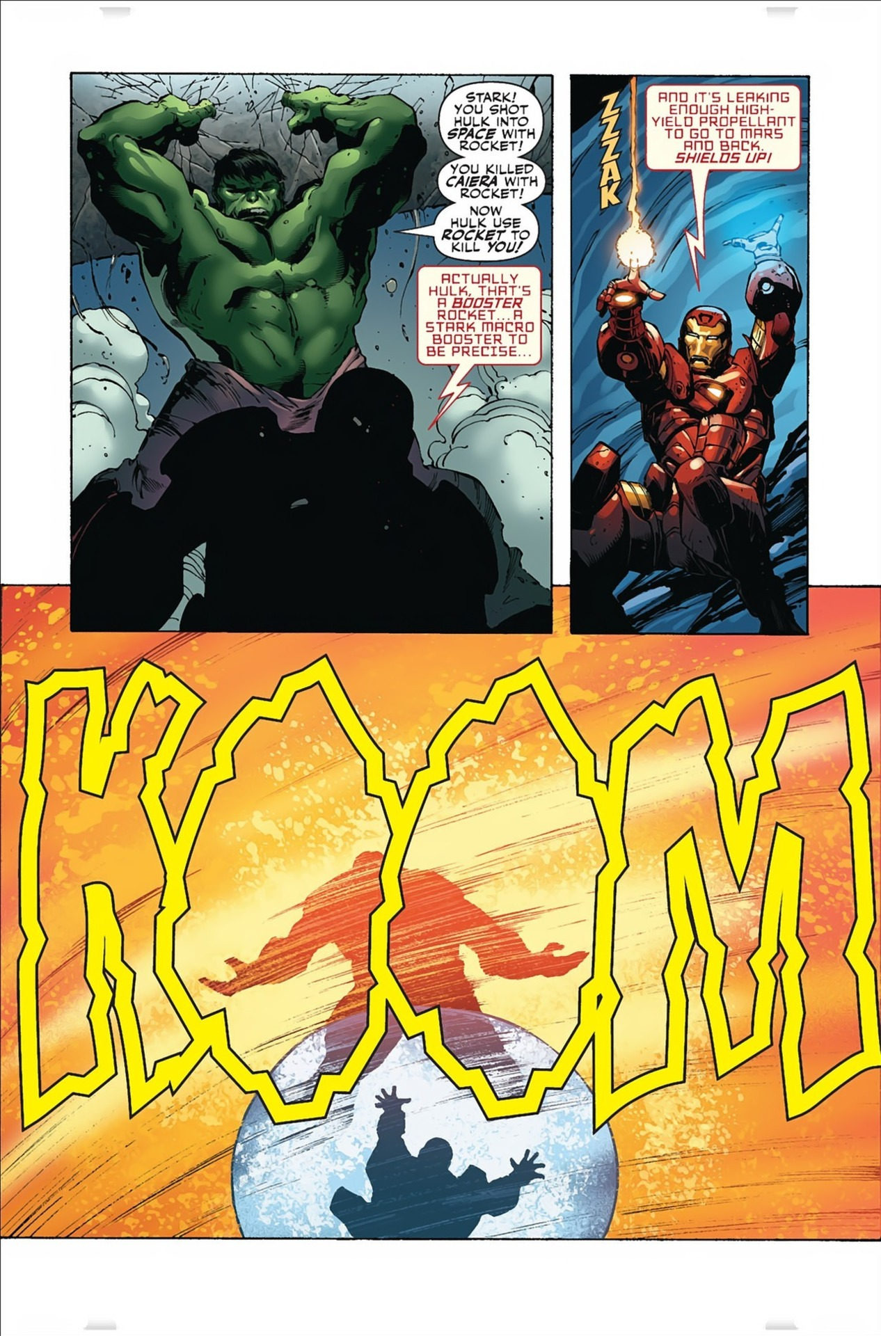 He reacts to and uses his shields to no-sell a blast that had a high enough yield propellant to go to Mars and back. This oneshotted the Hulk but I'm pretty sure it's impressive without scaling.