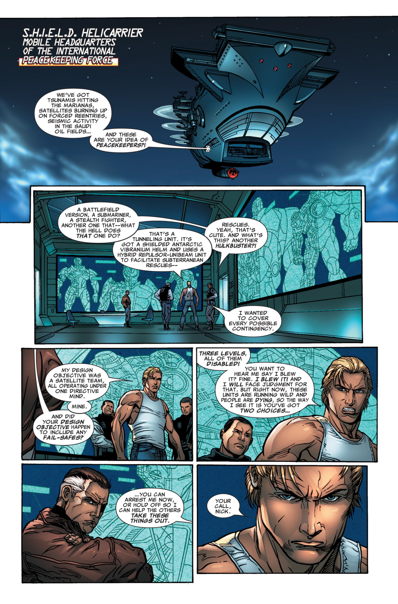 We see Tony and Nick Fury discuss the Subterranean Argonaut causing seismic activity on the Persian Gulf(among other things) -Iron Man(2005) #12