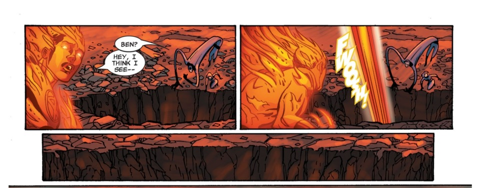 He moves too quick for Human Torch to even finish his sentence