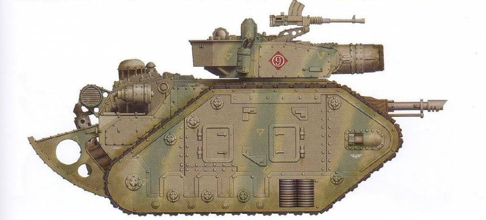 Leman Russ Demolisher (trench rails included) (features a turret-mounted Demolisher cannon as well as an interchangeable hull-mounted gun and optional sponson-mounted guns) (note: is designed with reinforced armor)