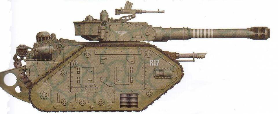 Leman Russ Vanquisher (features an extended barrel for the default battle cannon as well as an interchangeable hull-mounted gun and optional sponson-mounted guns) (dedicated anti-vehicle)